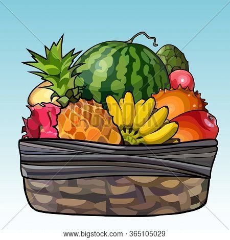 Painted Basket Filled With Variety Of Fruits
