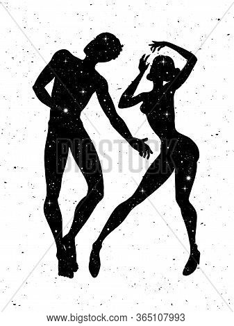 Beautiful Man And Woman Silhouettes With Stars, Sensual Couple In Love. Vector Illustration