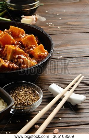 Traditional Chinese Food Mapo Tofu Dish With Pork Chives Soy Sauce Sichuan Pepper Garlic And Spices