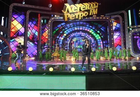 MOSCOW - DEC 17: Pat Ottavan frontman sings on stage of concert of Legend RetroFM in Sports complex Olimpiyskiy, on Dec 17, 2011 in Moscow, Russia. Ottavan group is named after Canadian city of Ottawa