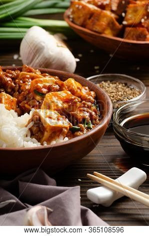 Traditional Chinese Food Mapo Tofu Dish With Pork Chives Steamed Rice Soy Sauce Sichuan Pepper Garli