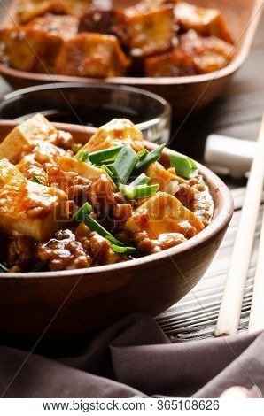 Chinese Food Mapo Tofu Dish With Pork Chives Soy Sauce Sichuan Pepper Garlic And Spices Closeup On W