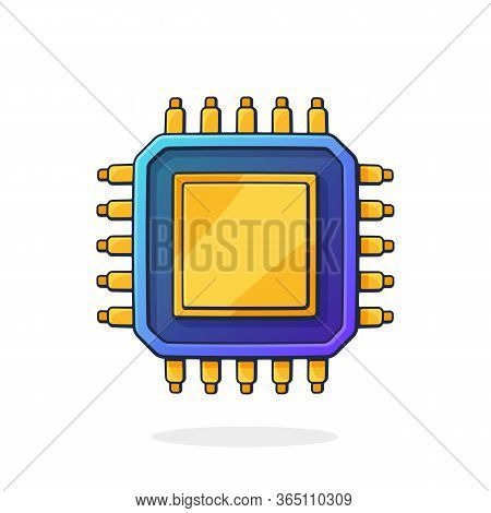 Vector Illustration. Electronic Integrated Circuit Top View. Computer Microchip Or Nano Processor. A