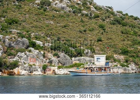 Tourist Yacht Sailing Near Historic Place Where Battleship Hamidiye Under Command Of Captain Rauf Or