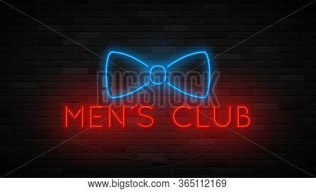 Neon Men's Club Symbol Template. Bright Label With Neon Bowtie. Striptease Club Concept Icon Isolate