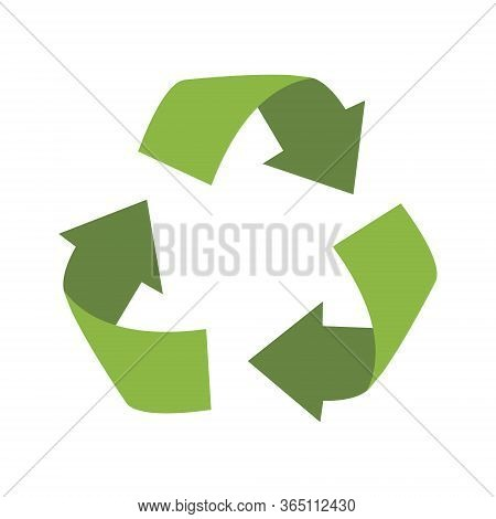 Green Recycling Sign. Vector Reuse Symbol. Perfect For Ecological Design, Eco-friendly Packaging. Ze