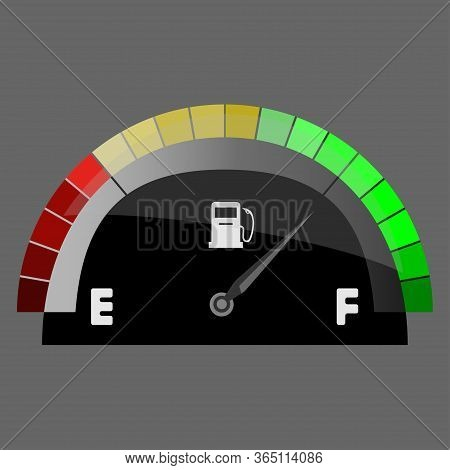 Realistic Fuel Indicator, Gas Meter. Fuel Sensor. Car Dashboard. Vector Illustration On White Backgr