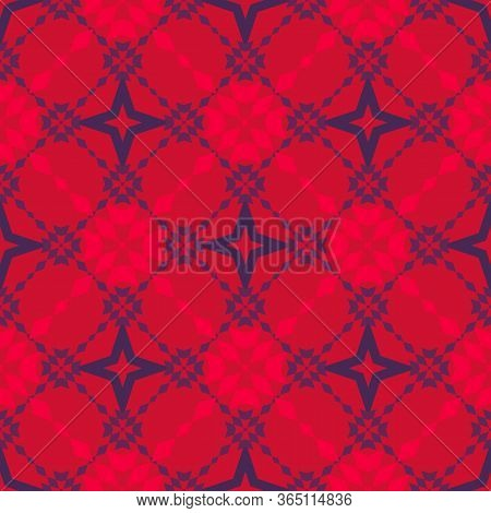 Floral Grid Seamless Pattern. Abstract Geometric Texture In Red And Purple Color. Simple Vector Orna
