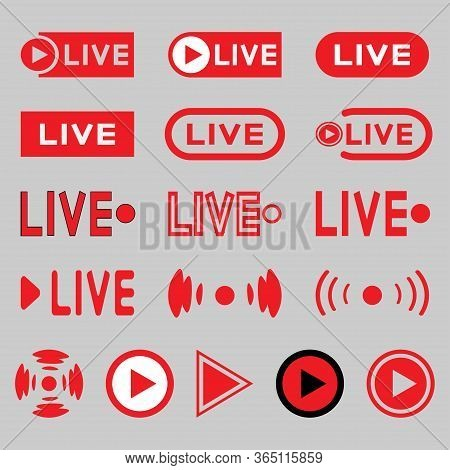 Live Broadcasting Icons Set. Red Symbols And Buttons For Live Broadcast, Tv, Shows, Films And Live P