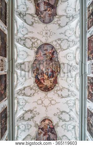 Feb 4, 2020 - Salzburg, Austria: Upward View Of Rococo Floral Mural Fresco Ceiling Of St Peter Abbey