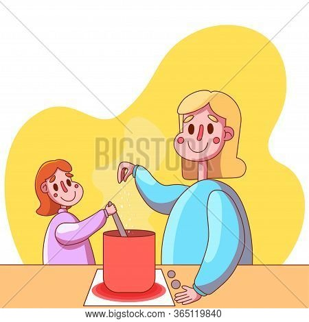 Vector Image. Mom And Daughter Are Cooking. Joint Cooking. The Child Helps The Parent. Mom Teaches D
