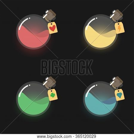 Game Icon Of Magic Elixir, Bottles With Colorful Liquid. Interface For Mobile Game. Magic Glass Flas
