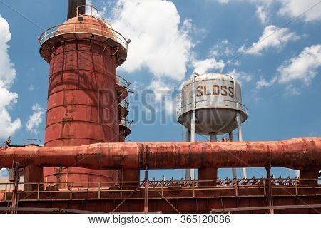 Sloss Furnaces National Historic Landmark, Birmingham Alabama Usa, Wide View Of Furnace And Water To