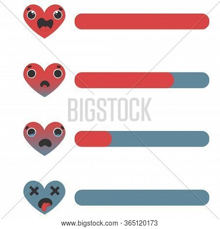 Mobile Game Ui, Gui. Game Interface. Set Of Status Icons Of Life And Health, Amass Of Heart. Interfa