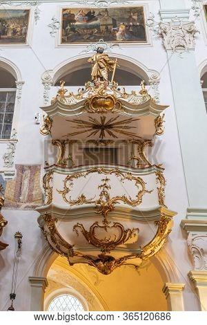 Feb 4, 2020 - Salzburg, Austria: Golden Floral Rococo Decorated Pulpit Inside St Peter Abbey Church