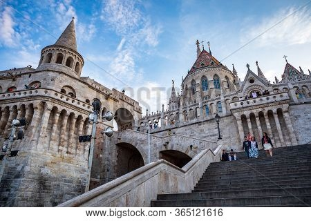 Budapest, Hungary - July 12, 2019: Fisherman's Bastion, Popular Tourist Attraction In Budapest, Hung