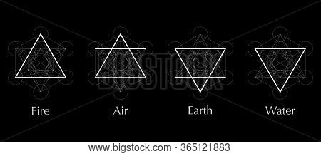 Four Elements Icons, Line, Triangle And Round Symbols Set Template. Air, Fire, Water, Earth Symbol.