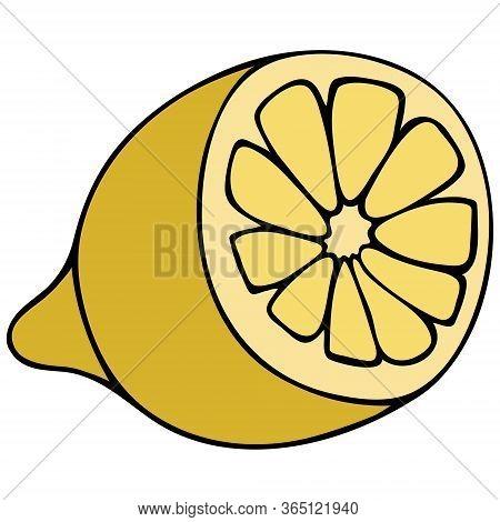 Lemon Cutaway. Yellow Citrus Fruit Contains Vitamin C. Color Vector Illustration. Tropical Fruit On