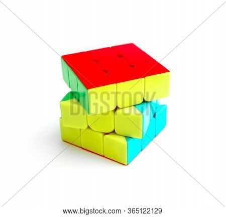 Moscow, Russia - 10 April 2020: Rubik's Cube Puzzle, Isolated On White Background.