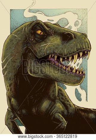 Traditional Pen And Ink Illustration Of A Close Up Of A T-rex With Some Retro Digital Colours Added