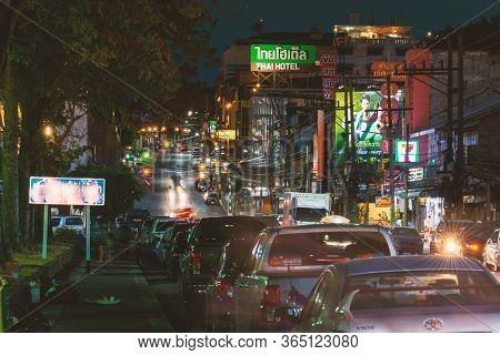 Thailand Krabi 6 Mar 2020 Street Life And Night Concept. Central Street In Krabi Resort At Night. Mo
