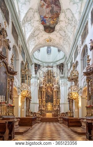 Feb 4, 2020 - Salzburg, Austria: Nave View Of Rococo Ornamentated Abbey Church Interior Inside St Pe