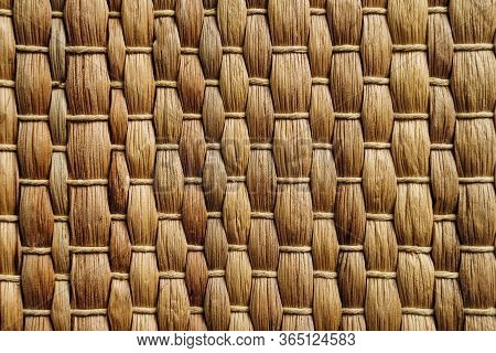 Handmade Yelow Wicker Placemat Made From Water Hyacinth, Nature Background.