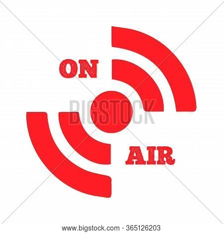Live On Air Icon Vector. Radio On Air, Modern Trend Design. Live Streaming Icon. Red Symbols And But