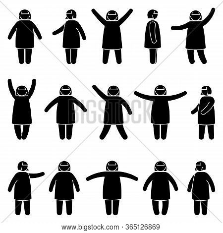 Fat Stick Figure Woman Standing Front, Side View In Different Poses Vector Icon Illustration Set. Ob