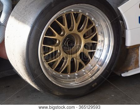 Close Up Angle View Of Race Car Wheel And Tire