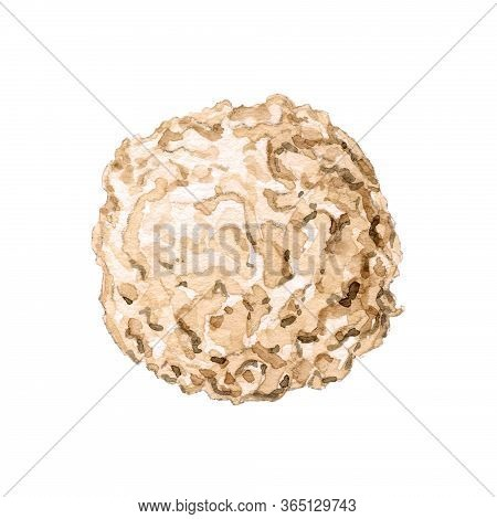 One Round Chocolate Candy With Shavings Isolated On White Background. Watercolor Hand Drawn Illustra