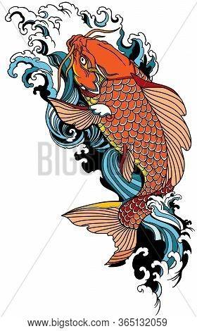 Koi Carp Swimming Upstream. Japanese Gold Fish With Water Waves. Tattoo . Vector Illustration