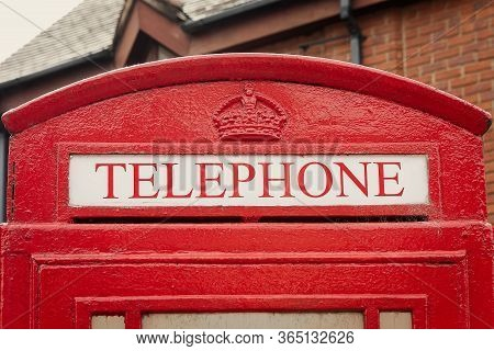 Detail Of The Red Telephone Booth In London, United Kingdom