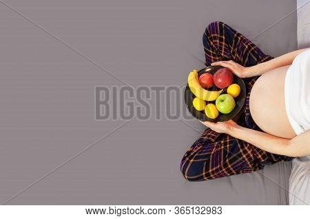Healthy Nutrition During Pregnancy. Concept Of Expectation Of The Child, Pregnancy And Motherhood. Y