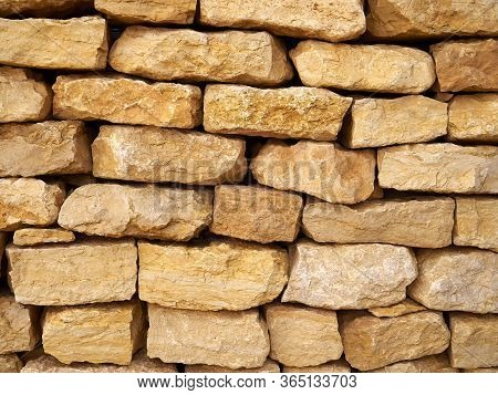 Texture Of A Stone Wall Made Of Natural Desert Rocks Negev Israel