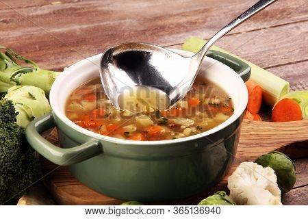 Soup, Vegetable Soup, Bowl. Traditional Hot Veggie Soup