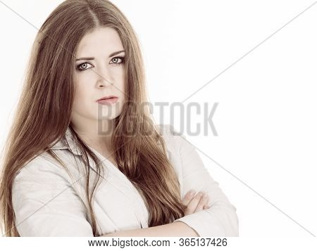 Irritated, Displeased Full Of Disagreement Young Woman With Brown Hair Having Disappointed Face Expr