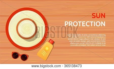 Sun Protection Items Laying On Sand Beach, Sunscreen, Sunglasses And Hat Horizontal Banner Template