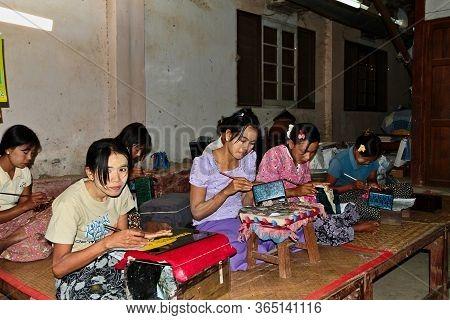 Bagan, Myanmar - Nov 14, 2019: Traditional Lacquer Ware Factory And Shop In Bagan, Myanmar Former Bu