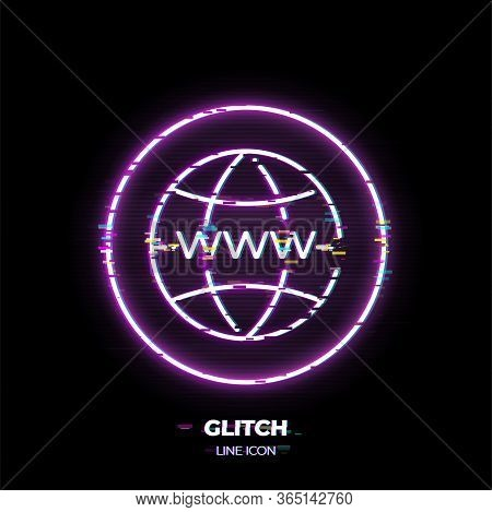 Globe With Www On It Line Art Vector Icon. Outline Symbol Of Internet.