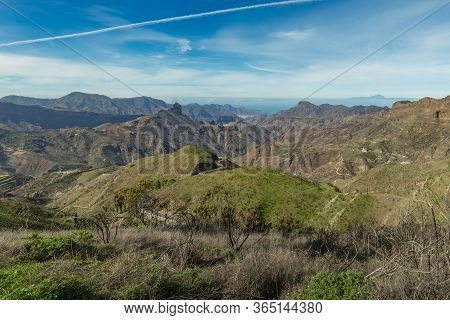 Aerial View Of The Center Of Gran Canaria. Famous Bentayga Rock In Huge Caldera And The Island Of Te
