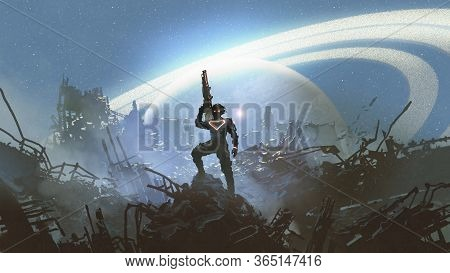 Futuristic Soldier Standing On City Ruins Against The Glowing Planet, Digital Art Style, Illustratio