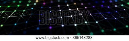 A Musical Wave Of Particles. Background Of Glowing Particles. Network Of Connected Dots And Lines. A