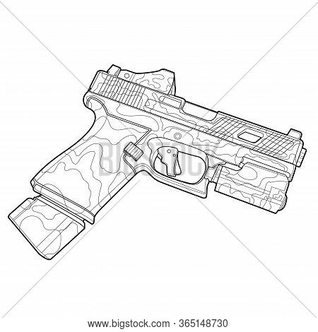 Line Art Gun Flat Illustration, Coloring Page For Adults, Cover For Notebook. Modern Weapon Vector A