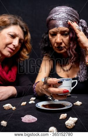 Turkish Coffee  And Fortune Telling Lady. Visit A Fortune Teller