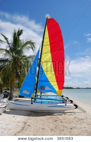 Catamarans On A Key Biscaye Beach