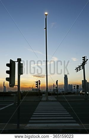 Pedestrian Crossing Line ( Zebra Line ) With Evening Sky Background