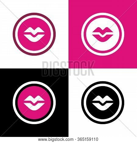 Woman Lips Icon, Red Lip Concept, Human Mouth Vector Illustration