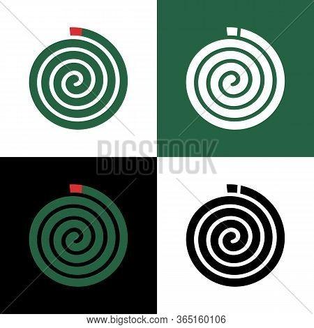 Green Mosquito Coil Icon Design, Insect Repellant Illustration, Mosquito Repellent Clip Art
