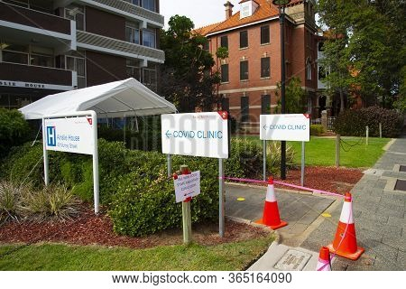 Perth, Australia - April 17, 2020: Covid Clinic Testing Site At The Royal Perth Hospital